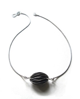 "SEED $190-sterling silver necklace with bead of wavy silver pages (16 1/2"" snake chain)"