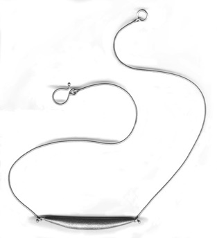 "POD $150-sterling silver necklace with fizzy textured hollow form (16"" snake chain)"