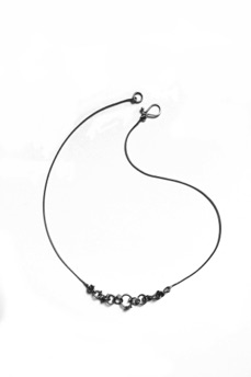 "MINI $160-sterling silver necklace with sanding disk texture on the dots (16 1/2"" snake chain)"