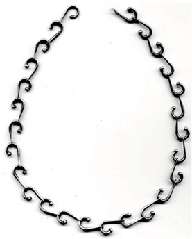 "CURVE $390-sterling silver necklace with sanding disk texture on hammered portions of links (16"" long)"