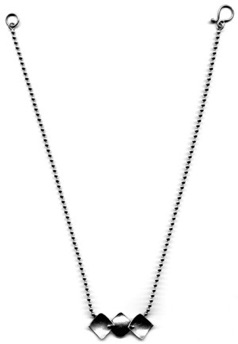 "JESTER $150-sterling silver necklace with concave and convex squares and alternating surface treatments (16"" ball chain)"