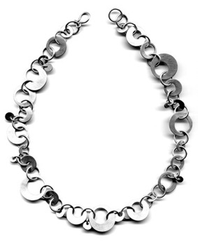 "OLGA-$470-sterling silver necklace with lightly brushed surface (17"" long)"