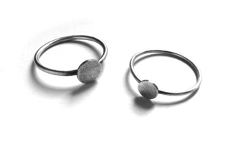 MINI $65 & $60-sterling silver rings with sanding disk texture on dots (16 and 18 guage wire) made to size specifications