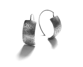 "STIPPLE $90-sterling silver earrings with stippled texture (3/4"" long not including ear wire)"