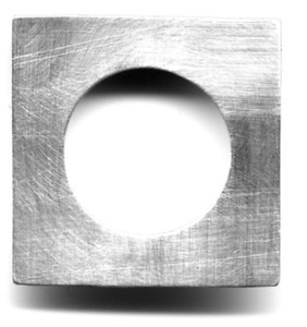 "CIRCLE IN SQUARE $90-sterling silver pin with sanding disk texture (1 1/4"")"